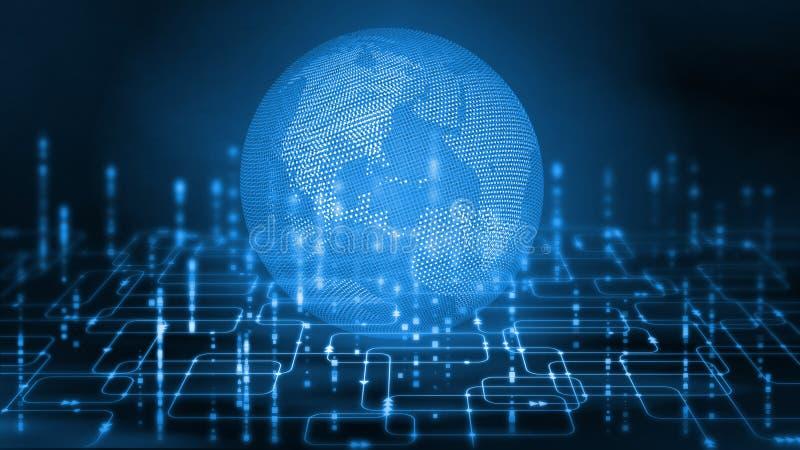 rendu 3D de globe pointillé par cadre de fil sur le fond abstrait d'organigramme de programmation de logiciel illustration de vecteur