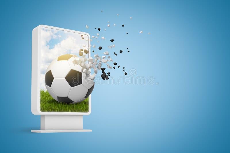 rendu 3d de l'affichage numérique avec le football en commençant à se dissoudre en particules qui s'échappent de l'écran sur le d illustration stock