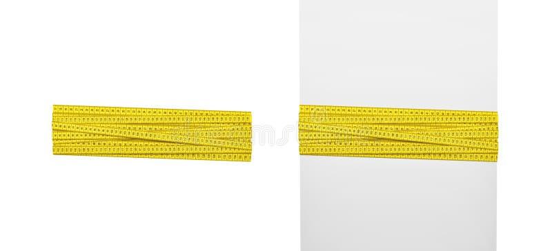 rendu 3d de l'ensemble de bandes de mesure jaunes droites d'isolement sur le fond blanc photographie stock libre de droits