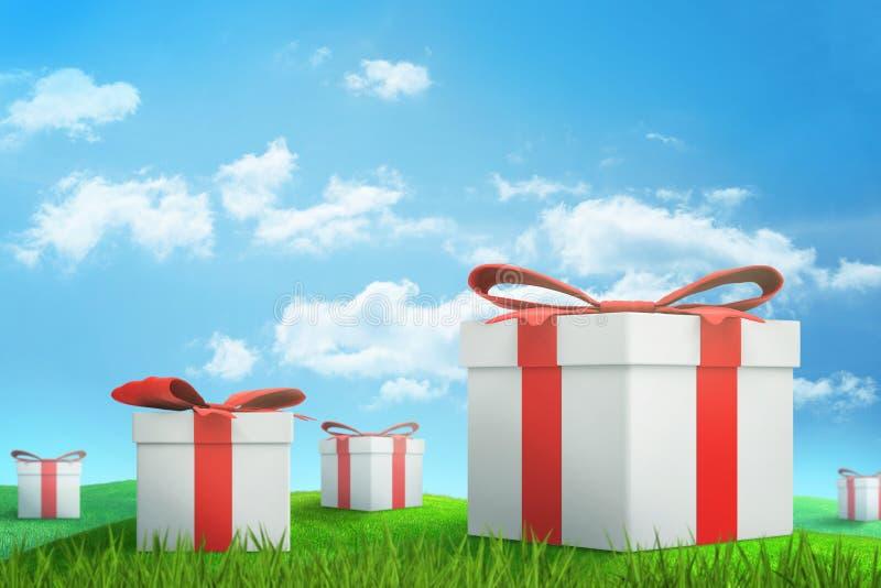 rendu 3d de l'ensemble de boîte-cadeau blancs avec les rubans rouges sur le pré ensoleillé vert sous le ciel bleu avec les nuages illustration de vecteur