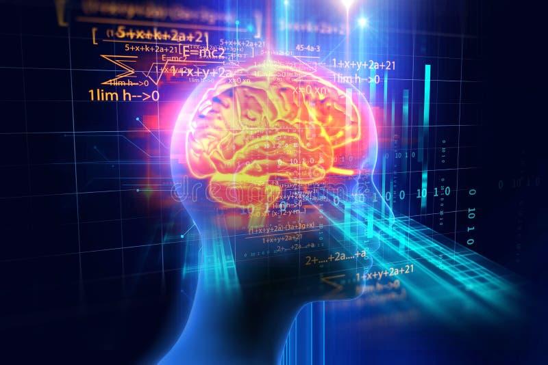 rendu 3d de l'esprit humain sur le fond de langage de programmation illustration de vecteur