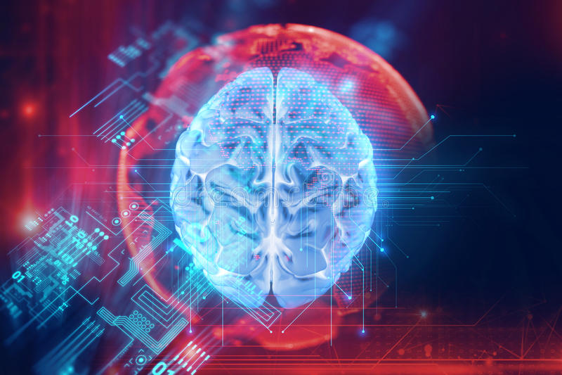 rendu 3d de l'esprit humain sur le fond de technologie illustration libre de droits