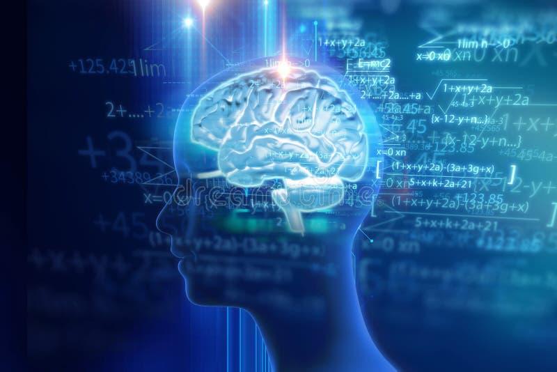 rendu 3d de l'esprit humain sur le fond de technologie illustration stock