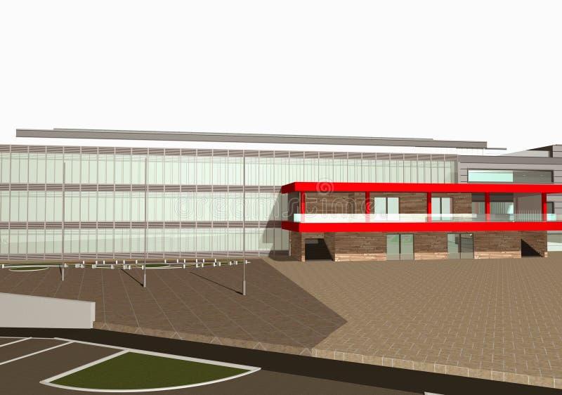 rendu 3D de l'extérieur moderne de bâtiment illustration stock