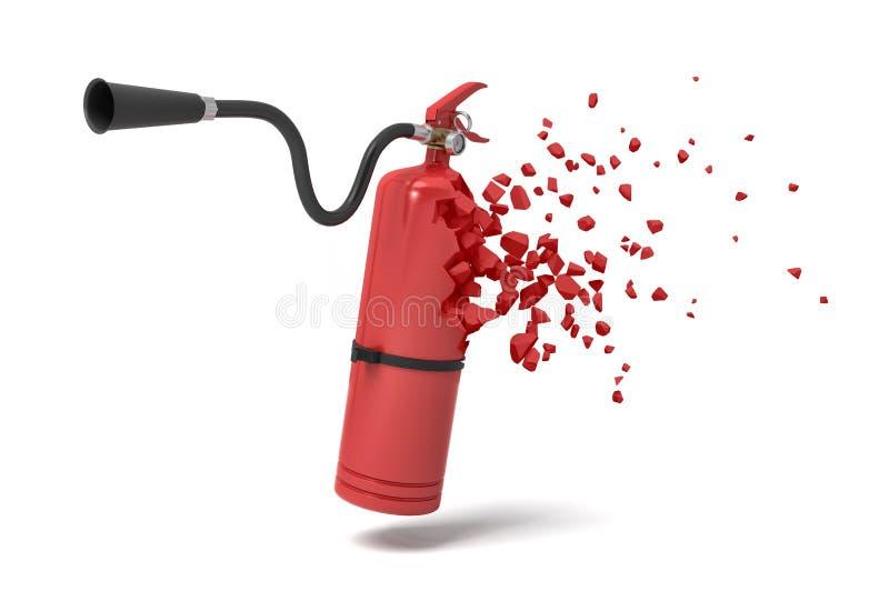 rendu 3d de l'extincteur rouge commençant à se dissoudre dans des particules sur le fond blanc illustration libre de droits