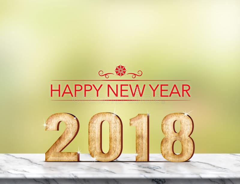 Rendu 3d de la bonne année 2018 sur la table de marbre à l'abst vert photographie stock libre de droits