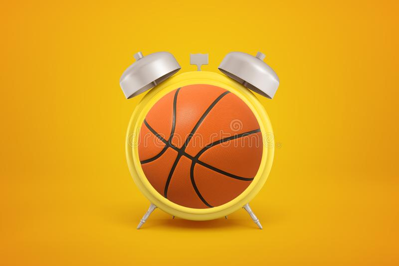rendu 3d de la boule orange de basket-ball formée comme réveil sur le fond jaune photo libre de droits