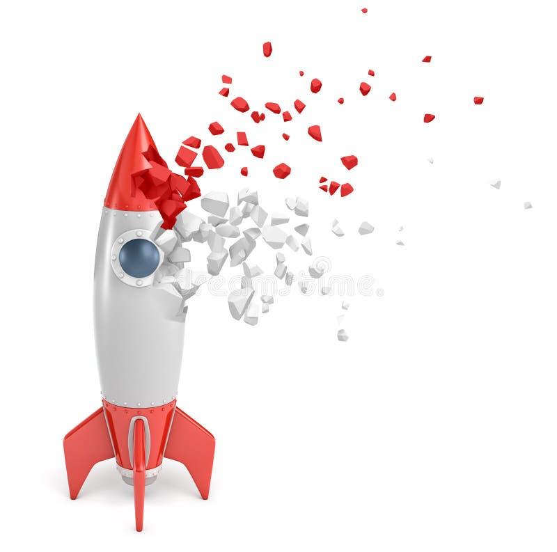 rendu 3d de la fusée d'espace rouge et grise de jouet commençant à se dissoudre dans des morceaux sur le fond blanc illustration de vecteur
