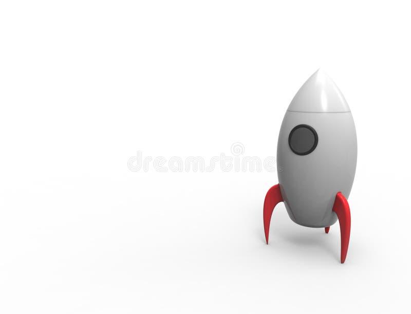 rendu 3D de la fusée de jouet de bande dessinée ioslated sur le fond blanc illustration de vecteur