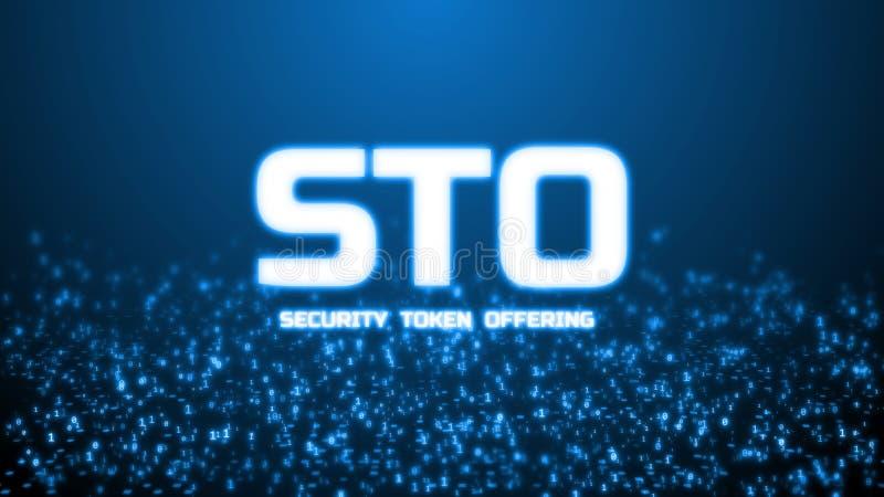 rendu 3D de la marque rougeoyante de sécurité offrant le texte de STO sur le fond binaire abstrait Pour la crypto devise, marque  illustration de vecteur