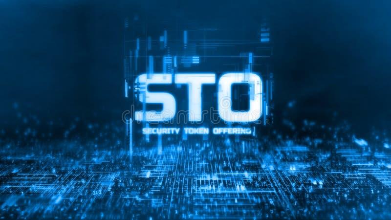 rendu 3D de la marque rougeoyante de sécurité offrant le texte de STO sur le fond binaire abstrait Pour la crypto devise, marque  illustration libre de droits