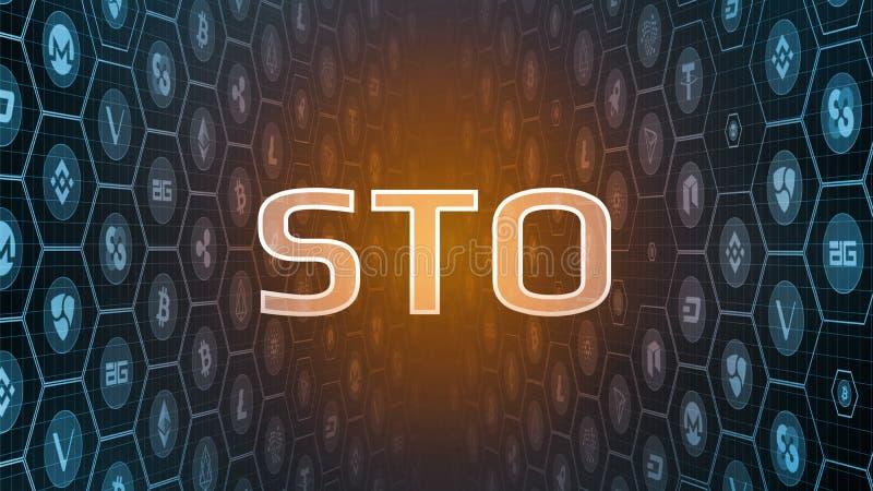 rendu 3D de la marque rougeoyante de sécurité offrant le texte de STO sur fond numérique de pièces de monnaie de devise de perspe illustration libre de droits