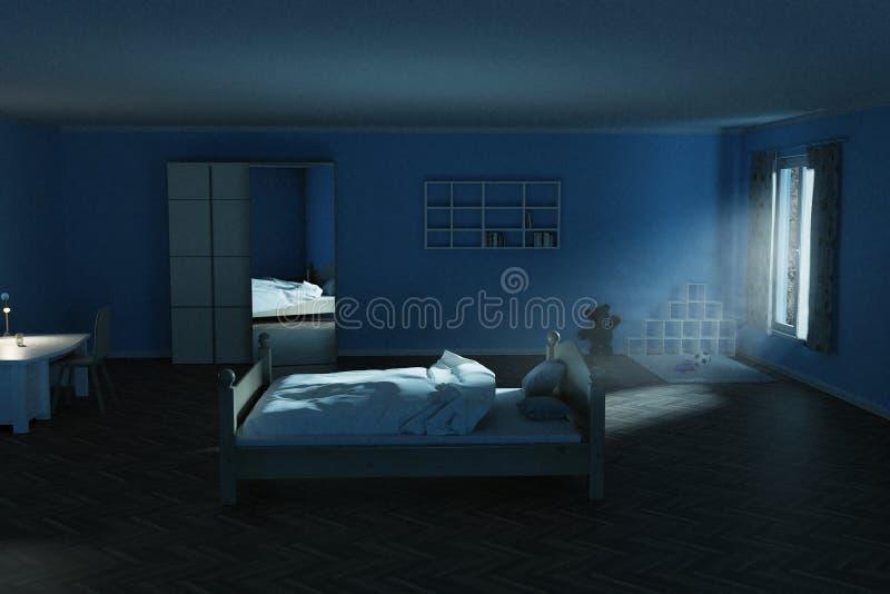 rendu 3d de la pi?ce d'enfants la nuit avec briller le rayon l?ger lumineux de la lune illustration stock