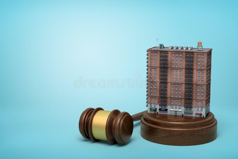 rendu 3d de la position d'immeuble sur retentir le bloc avec le marteau de juge se trouvant à coté sur le fond bleu-clair illustration de vecteur