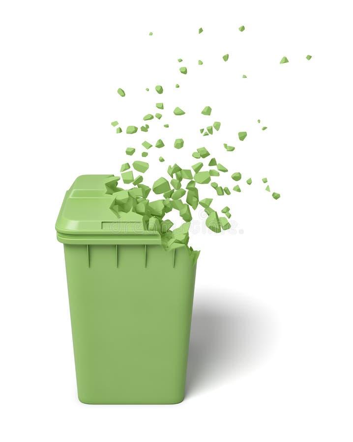 rendu 3d de la poubelle de poussière verte commençant à se dissoudre dans des particules sur le fond blanc images libres de droits