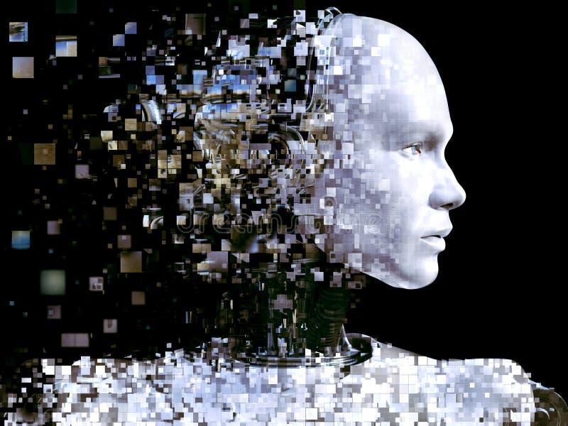 rendu 3D de la tête masculine de robot qui se brise illustration de vecteur