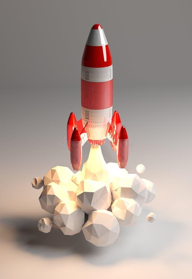 Rendu 3D de lancement de fusée rouge et blanche illustration libre de droits