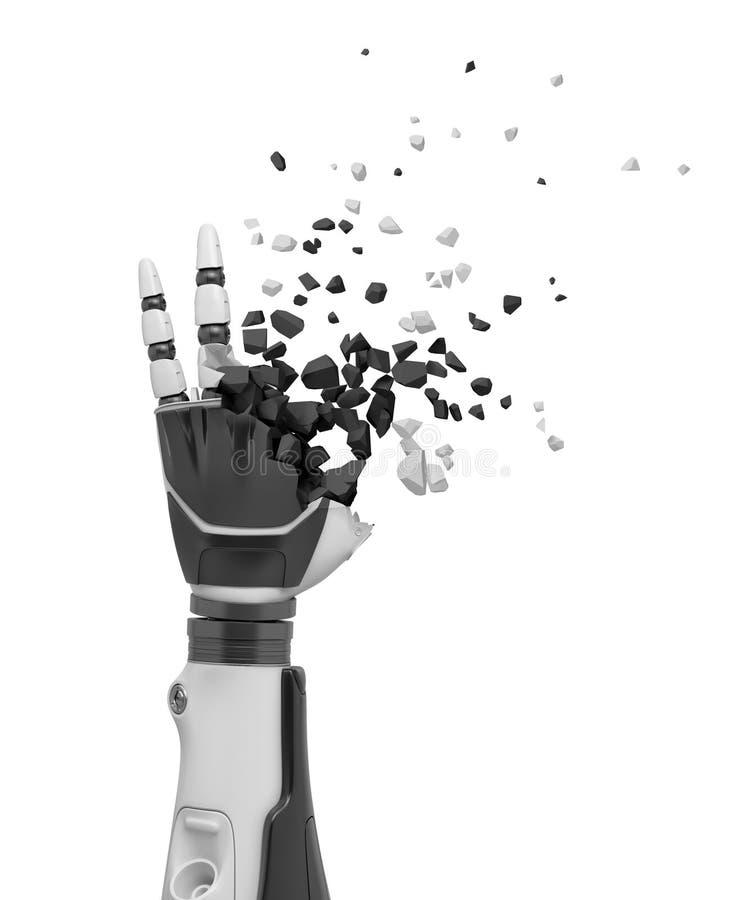 rendu 3d de main robotique se brisant dans des morceaux d'isolement sur le fond blanc illustration libre de droits