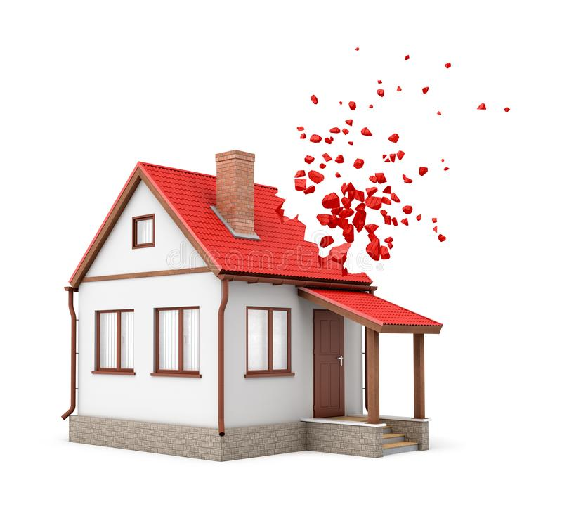 rendu 3d de maison isolée un-storeyed avec la cheminée commençant à se dissoudre dans des morceaux d'un côté de son toit rouge images stock