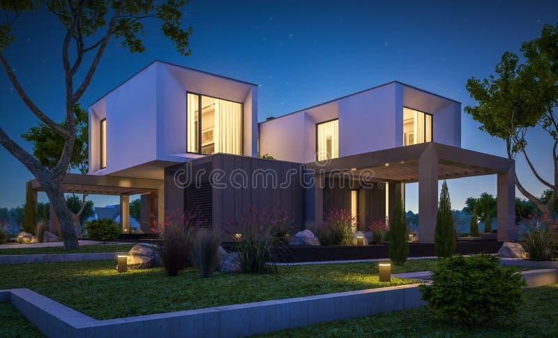 Rendu 3d De Maison Moderne Dans Le Jardin La Nuit Photo stock ...