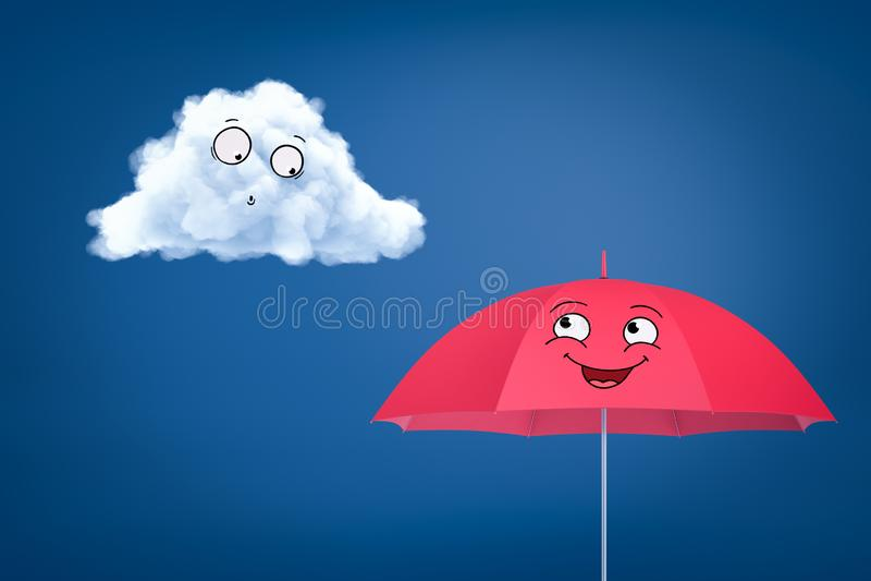 rendu 3d de nuage souriant de bande dessinée blanche et de parapluie souriant de bande dessinée heureuse de rose sur le fond bleu illustration stock