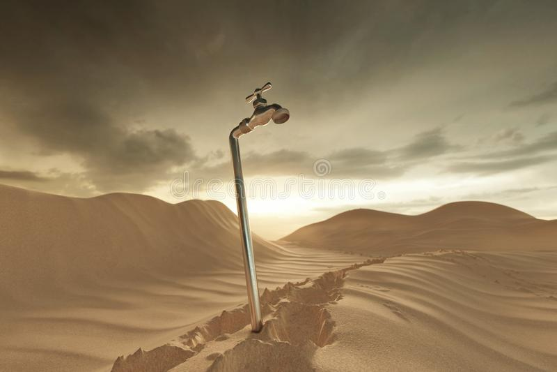 rendu 3d de paysage dunaire avec la broche Concept de manque d'eau illustration stock