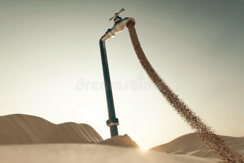 rendu 3d de paysage dunaire avec la broche débordante de sable Concept de manque d'eau illustration de vecteur