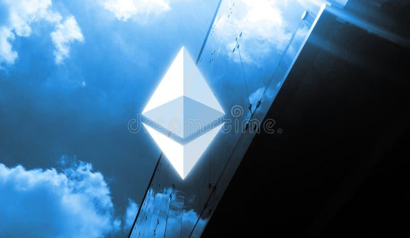 rendu 3D de pièce de monnaie d'Ethereum ETH Le concept de la crypto devise est appliqué largement dans la ville illustration stock