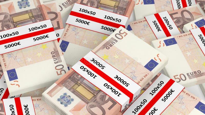rendu 3D de pile de 50 d'euros paquets de billet de banque illustration de vecteur