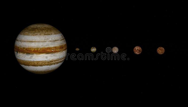 rendu 3d de planète et de lunes de Jupiter illustration de vecteur