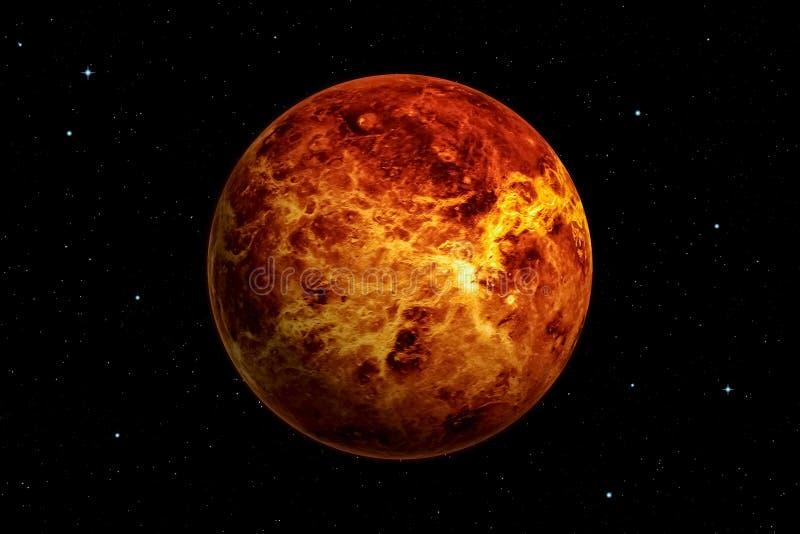 rendu 3d de planète de Vénus avec le fond d'espace lointain illustration libre de droits