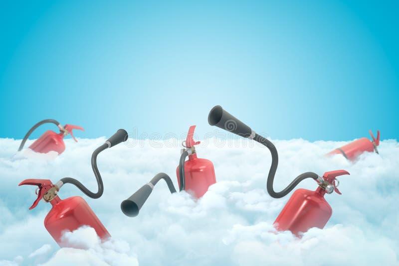 rendu 3d de plusieurs extincteurs rouges sur la couche de nuages blancs épais avec le ciel bleu ci-dessus illustration de vecteur