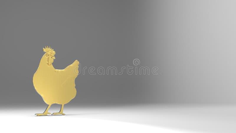 rendu 3d de poulet gentil d'or avec le fond gentil illustration libre de droits