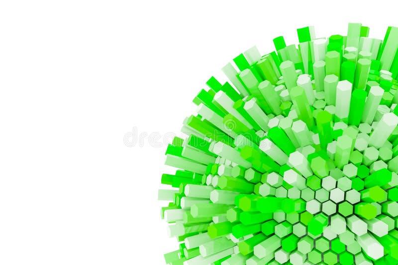 rendu 3D de prisme hexagonal vert Fond de la science fiction Sphère abstraite d'isolement sur le fond blanc - illustration 3D illustration stock