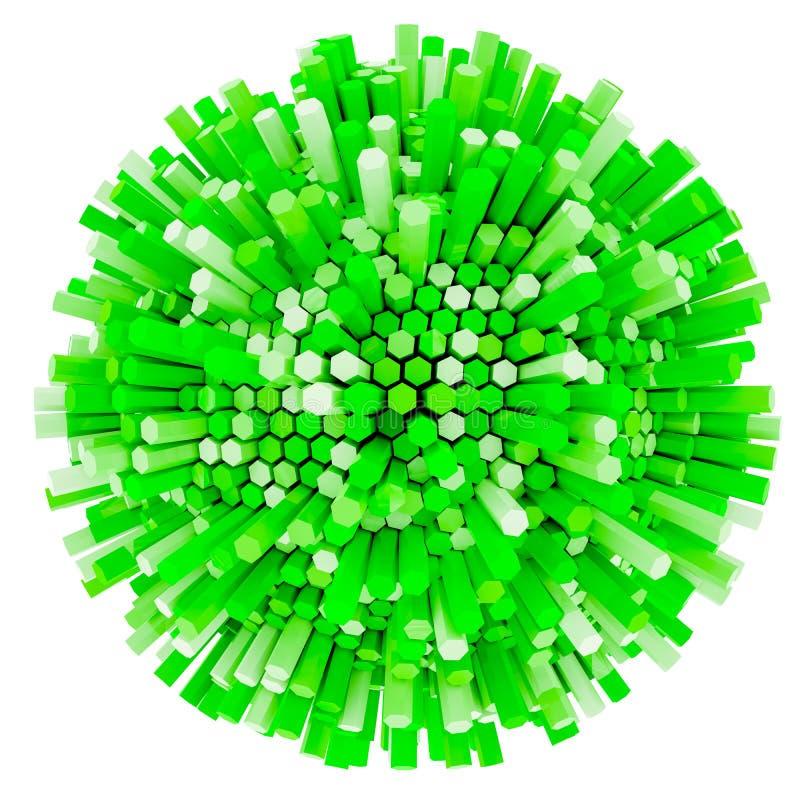 rendu 3D de prisme hexagonal vert Fond de pointe Sphère abstraite d'isolement sur le fond blanc - illustration 3D illustration stock
