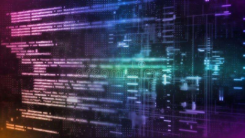 rendu 3D de technologie abstraite de Digital Extrait de codage binaire de manuscrit de logiciel sur le fond de concept de la scie illustration de vecteur