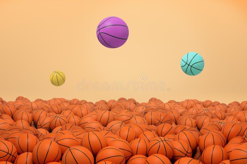 rendu 3d de trois boules différent colorées de basket-ball volant et sautant par-dessus un champ sans fin d'orange identique photo libre de droits