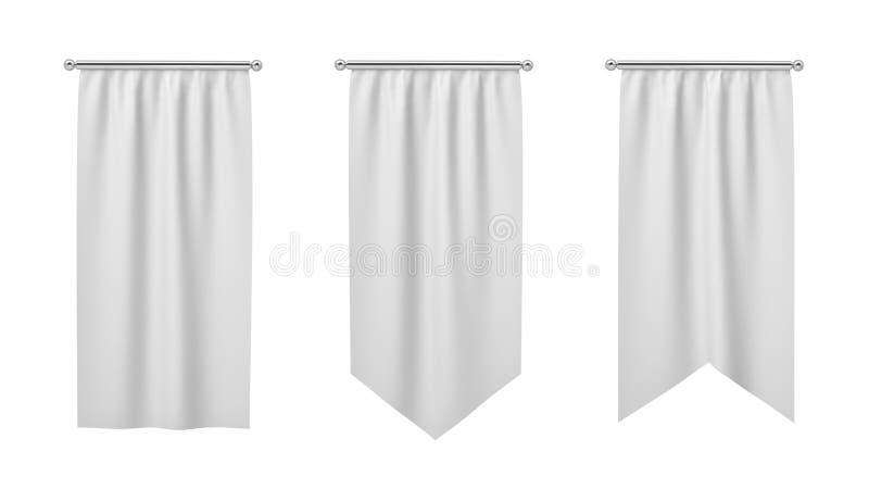 rendu 3d de trois drapeaux blancs rectangulaires accrochant verticalement sur un fond blanc illustration de vecteur