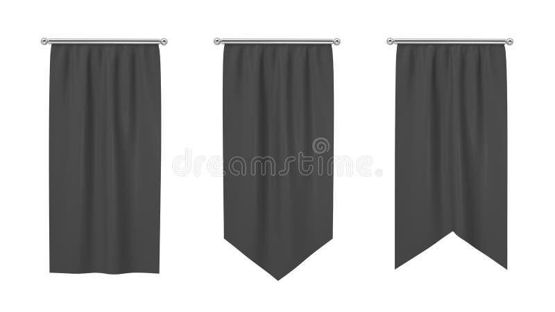 rendu 3d de trois drapeaux noirs rectangulaires accrochant verticalement sur un fond blanc illustration stock