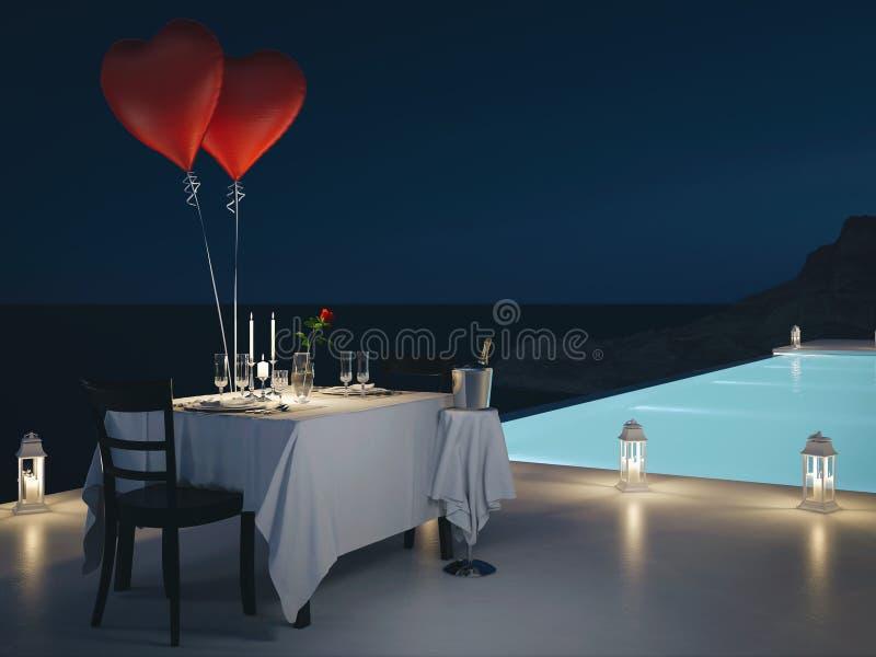 rendu 3d de villa de piscine avec le champagne Années de veille neuves illustration de vecteur