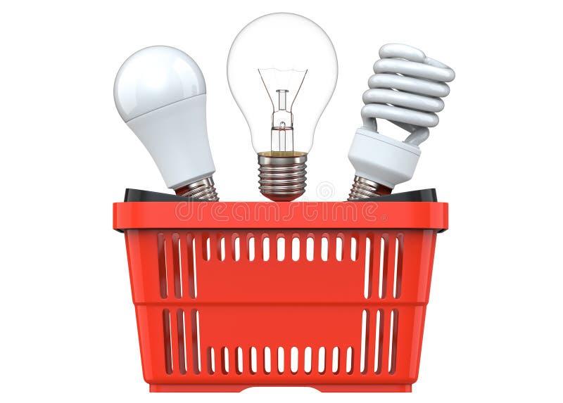 rendu 3d des ampoules incandescentes, fluorescentes et de LED, dans le panier à provisions en plastique rouge, d'isolement sur le illustration libre de droits