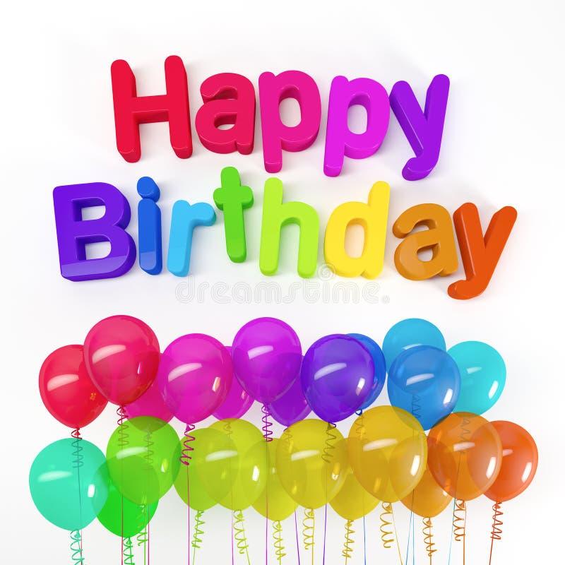 rendu 3d des ballons colorés et anniversaire de message du joyeux illustration stock