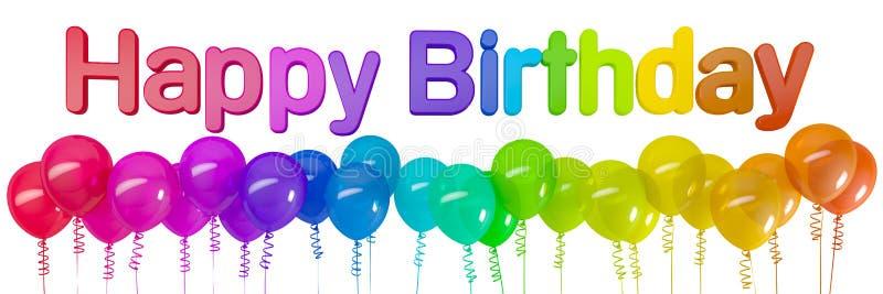 rendu 3d des ballons colorés et anniversaire de message du joyeux illustration de vecteur