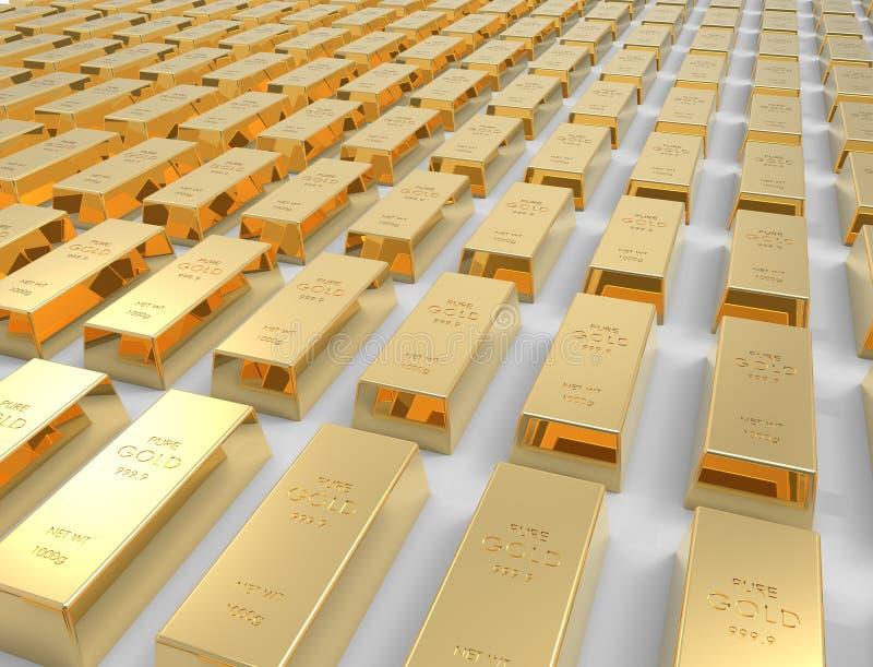 rendu 3D des barres d'or d'isolement sur le fond blanc de studio illustration de vecteur