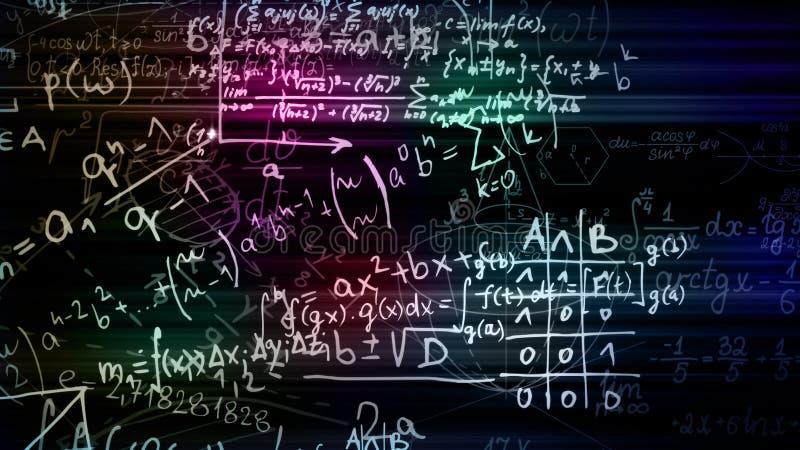 rendu 3D des blocs abstraits de formules mathématiques situées dans l'espace virtuel photo stock