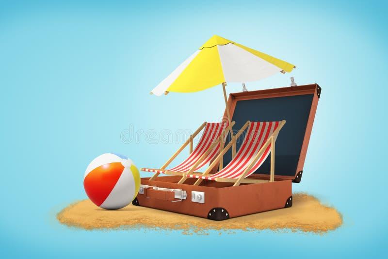 rendu 3d des chaises et du parapluie de plage dans la valise ouverte avec du ballon de plage et le sable d'arc-en-ciel sur le fon illustration de vecteur
