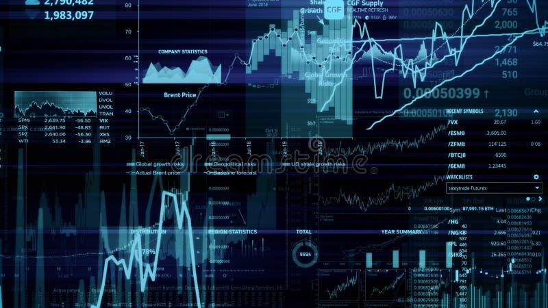 rendu 3D des indices des actions dans l'espace virtuel Croissance économique, récession photo libre de droits