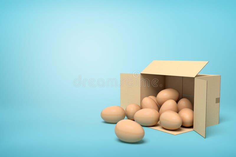 rendu 3d des oeufs de poulet dans la bo?te de carton sur le fond bleu illustration libre de droits