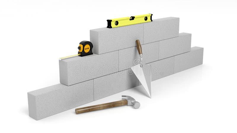 rendu 3D des outils et des briques de maçonnerie illustration libre de droits