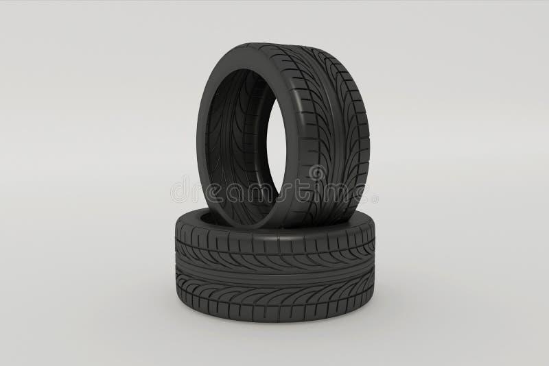 rendu 3d des pneus de voiture illustration de vecteur